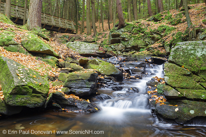 Wilde Brook at Chesterfield Gorge Natural Area in Chesterfield, New Hampshire USA during the autumn months.