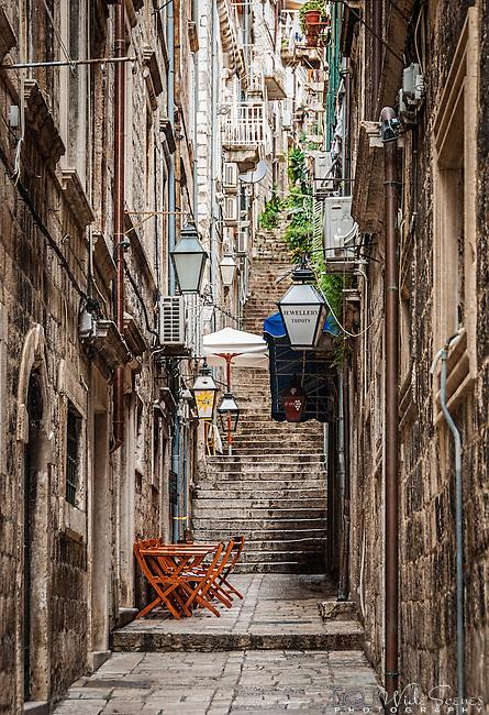 Narrow alleyway in the old town of Dubrovnik, Croatia