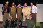 "Guiding Light's Denise Pence ""Katie"" came to the 7th Anniversary of Layon Gray's ""Black Angels Over Tuskegee"" - Straighten Up Fly Right - cast - back row: Layon Gray (also wrote and directed it), David Roberts, Anthony Goss, Melvin Huffnagle, Thaddeus Daniels. Front"" Delano Barbosa, Lamar Cheston, Craig Colasanti on February 10, 2017 at St. Luke's Theatre, New York City, New York. (Photo by Sue Coflin/Max Photos)"