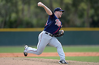Minnesota Twins pitcher Brian Gilbert (44) during a minor league spring training game against the Baltimore Orioles on March 20, 2014 at the Buck O'Neil Complex in Sarasota, Florida.  (Mike Janes/Four Seam Images)