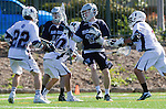 Los Angeles, CA 03/12/16 - Drew Marinelli (Loyola Marymount #22), Daniel Wong (Loyola Marymount #3) and Gary Christianson (Utah State #26) in action during the Utah State vs Loyola Marymount MCLA Men's Division I game at Leavey Field at LMU.  Utah State defeated LMU 17-4.