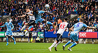 Bolton Wanderers' Dennis Politic (2nd left) competing in the air with Coventry City's Fankaty Dabo <br /> <br /> Photographer Andrew Kearns/CameraSport<br /> <br /> The EFL Sky Bet Championship - Bolton Wanderers v Coventry City - Saturday 10th August 2019 - University of Bolton Stadium - Bolton<br /> <br /> World Copyright © 2019 CameraSport. All rights reserved. 43 Linden Ave. Countesthorpe. Leicester. England. LE8 5PG - Tel: +44 (0) 116 277 4147 - admin@camerasport.com - www.camerasport.com