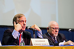 April 19, 2012 - Hempstead, New York, U.S. - Governor HOWARD DEAN III , gesturing to himself, and EDWARD ROLLINS (right) are two of the panelists at ?Change in the White House? symposium at Hofstra University, Long Island. Gov. Howard B. Dean is a former Democratic National Committee Chairman, presidential candidate, six term Governor of Vermont, and physician. Edward J. Rollins managed Pres. Reagan's reelection campaign in 1984, and had major managerial roles in nine other Presidential campaigns.