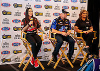 Feb 6, 2020; Pomona, CA, USA; NHRA funny car driver Alexis DeJoria (left) with funny car driver Robert Hight (center) and pro stock driver Erica Enders during the NHRA Winternationals media press conference at the NHRA Museum. Mandatory Credit: Mark J. Rebilas-USA TODAY Sports