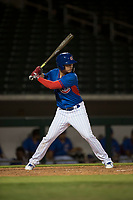 AZL Cubs 2 left fielder Carlos Pacheco (28) at bat during an Arizona League game against the AZL Rangers at Sloan Park on July 7, 2018 in Mesa, Arizona. AZL Rangers defeated AZL Cubs 2 11-2. (Zachary Lucy/Four Seam Images)
