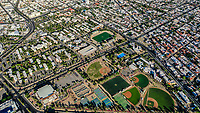 Aerial view of the fields and sports fields and gimmacio of the University of Sonora. The Unison mile. Hermosillo, Sonora. Baseball fields, synthetic grass, soccer fields.School of Medicine of UNISON. Castro Servin stadium. estadio Castro Servin.<br /> (Photo: Luis Gutierrez / NortePhoto.com)<br /> <br /> Vista aerea las canchas y campos deportivos y gimmacio de la Universidad de Sonora. La milla de la Unison. Hermosillo, Sonora. Campos de beisbol, pasto sintetico, canchas de futbol.  Escuela de Medicina de la UNISON. <br /> (Photo: Luis Gutierrez/NortePhoto.com)
