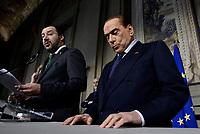 Roma, 12 Aprile 2018<br /> Silvio Berlusconi e Matteo Salvini.<br /> Secondo giro di Consultazioni per la formazione del Governo