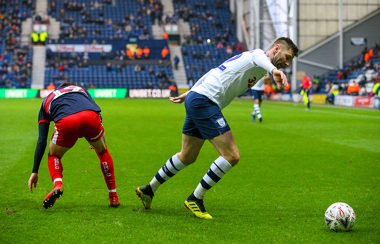 Preston North End's Paul Gallagher gets away from Doncaster Rovers' Alfie May<br /> <br /> Photographer Alex Dodd/CameraSport<br /> <br /> The Emirates FA Cup Third Round - Preston North End v Doncaster Rovers - Sunday 6th January 2019 - Deepdale Stadium - Preston<br />  <br /> World Copyright &copy; 2019 CameraSport. All rights reserved. 43 Linden Ave. Countesthorpe. Leicester. England. LE8 5PG - Tel: +44 (0) 116 277 4147 - admin@camerasport.com - www.camerasport.com