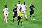 (L to R) <br /> Abdulrahman Al Jassim Referee, <br /> Keisuke Honda (JPN), <br /> SEPTEMBER 1, 2016 - Football / Soccer : <br /> FIFA World Cup Russia 2018 Asian Qualifier <br /> Final Round Group B <br /> between Japan 1-2 United Arab Emirates <br /> at Saitama Stadium 2002, Saitama, Japan. <br /> (Photo by YUTAKA/AFLO SPORT)