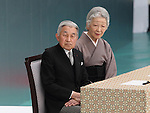 August 15, 2014, Tokyo, Japan - Japan observes the 69th anniversary of the nation's surrender in World War II with Emperor Akihito and Empress Michiko attending a memorial ceremony for the war dead held at Nippon Budokan arena on Friday, August 15, 2014. (Photo by Motoo Naka/AFLO)