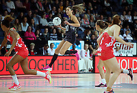 27.08.2016 Silver Ferns Kayla Cullen in action during the Netball Quad Series match between teh Silver Ferns and England at Vector Arena in Auckland. Mandatory Photo Credit ©Michael Bradley.