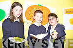 From left: Emma O'Keefe, Evan Loweham and Ciaran Sayers at the Caherleaheen national school Harvest Fest