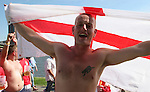 10 June 2006: An England fan celebrates after the game. England played Paraguay at Commerzbank Arena in Frankfurt, Germany in match 3, a Group B first round game, of the 2006 FIFA World Cup.