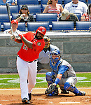 22 June 2008: Washington Nationals' first baseman Dmitri Young at bat against the Texas Rangers at Nationals Park in Washington, DC. The Rangers defeated the Nationals 5-3 in the final game of their 3-game inter-league series...Mandatory Photo Credit: Ed Wolfstein Photo
