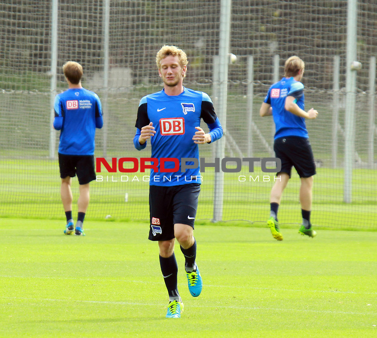 09.08.2013, Sportpark, Berlin, GER, 1.FBL, Hertha BSC , Training, im Bild Fabian Lustenberger (Hertha BSC Berlin)<br /> <br />               <br /> Foto &copy; nph /  Schulz