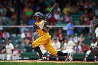 Jacksonville Suns outfielder Kenny Wilson (3) at bat during the 20th Annual Rickwood Classic Game against the Birmingham Barons on May 27, 2015 at Rickwood Field in Birmingham, Alabama.  Jacksonville defeated Birmingham by the score of 8-2 at the countries oldest ballpark, Rickwood opened in 1910 and has been most notably the home of the Birmingham Barons of the Southern League and Birmingham Black Barons of the Negro League.  (Mike Janes/Four Seam Images)
