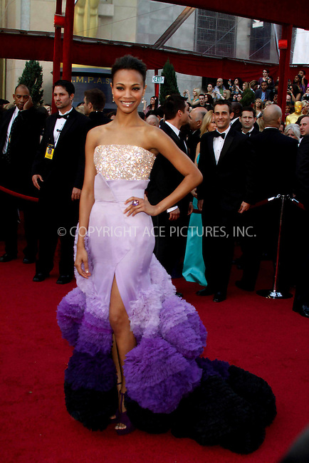 WWW.ACEPIXS.COM . . . . .  ....March 7 2010, Hollywood, CA....Actress Zoe Saldana at the 82nd Annual Academy Awards held at Kodak Theatre on March 7, 2010 in Hollywood, California.....Please byline: Z10-ACE PICTURES... . . . .  ....Ace Pictures, Inc:  ..Tel: (212) 243-8787..e-mail: info@acepixs.com..web: http://www.acepixs.com