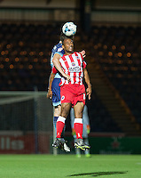 Romuald Boco of Accrington Stanley wins the ball in the air during the Sky Bet League 2 match between Wycombe Wanderers and Accrington Stanley at Adams Park, High Wycombe, England on 16 August 2016. Photo by Andy Rowland.