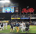 Masahiro Tanaka (Yankees),<br /> MAY 14, 2014 - MLB :<br /> Pitcher Masahiro Tanaka of the New York Yankees is congratulated on his sixth win with his first shutout in the MLB after the Major League Baseball game against the New York Mets at Citi Field in Flushing, New York, United States. (Photo by AFLO)