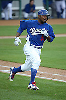 Howie Kendrick (41) of the Rancho Cucamonga Quakes, while on a rehab assignment for the Los Angeles Dodgers, runs to first base during a game against the Lake Elsinore Storm at LoanMart Field on April 10, 2016 in Rancho Cucamonga, California. Lake Elsinore defeated Rancho Cucamonga, 7-6. (Larry Goren/Four Seam Images)