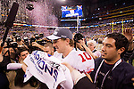 New York Giants quarterback Eli Manning (10) celebrates after winning the NFL Super Bowl XLVI football game against the New England Patriots on Sunday, Feb. 5, 2012, in Indianapolis. The Giants won 21-17 (AP Photo/David Stluka)...