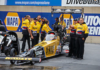 Oct 1, 2016; Mohnton, PA, USA; Crew members for NHRA top fuel driver Doug Kalitta during qualifying for the Dodge Nationals at Maple Grove Raceway. Mandatory Credit: Mark J. Rebilas-USA TODAY Sports