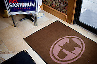 Campaign materials for former congressman Rick Santorum are on display at the Puritan Backroom restaurant in Manchester, New Hampshire.  Santorum is a candidate for the GOP 2012 presidential nominee.