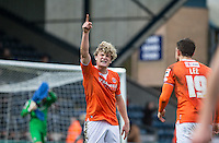 Goalscorer Cameron McGeehan of Luton Town and Oliver Lee of Luton Town almost come to blows as the half time whistle blows during the Sky Bet League 2 match between Wycombe Wanderers and Luton Town at Adams Park, High Wycombe, England on 6 February 2016. Photo by Andy Rowland.