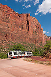 USA Utah, Zion National Park. Public transportation park shuttles at Big Bend.