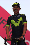Nairo Quintana (COL) Movistar Team at the Team Presentation in Alghero, Sardinia for the 100th edition of the Giro d'Italia 2017, Sardinia, Italy. 4th May 2017.<br /> Picture: Eoin Clarke | Cyclefile<br /> <br /> <br /> All photos usage must carry mandatory copyright credit (&copy; Cyclefile | Eoin Clarke)