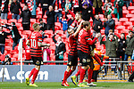 LONDON, ENGLAND - MARCH 29: Louis Moult of Wrexham (right) celebrates after he scores his team's third goal to make it 3-3 during the FA Carlsberg Trophy Final 2015 at Wembley Stadium on March 29, 2015 in London, England. (Photo by David Horn/EAP)
