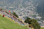 The peloton start to climb during Stage 20 of the La Vuelta 2018, running 97.3km from Andorra Escaldes-Engordany to Coll de la Gallina, Spain. 15th September 2018.                   <br /> Picture: Unipublic/Photogomezsport | Cyclefile<br /> <br /> <br /> All photos usage must carry mandatory copyright credit (&copy; Cyclefile | Unipublic/Photogomezsport)