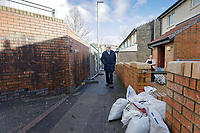 Pictured: Jeremy Corbyn walks in front of houses that got damaged in the recent flood. Thursday 20 February 2020<br /> Re: Jeremy Corbyn, the leader of the Labour Party visits the area of Rhydyfelin near Pontypridd, south Wales, UK.
