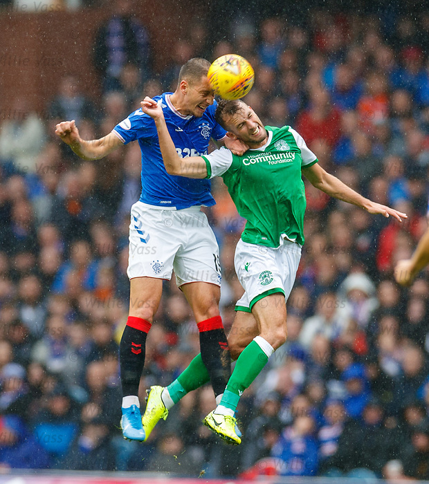 11.08.2019 Rangers v Hibs: Nikola Katic snd Christian Doidge