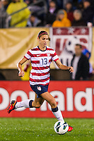 Alex Morgan (13) of the United States (USA). The United States (USA) and Germany (GER) played to a 2-2 tie during an international friendly at Rentschler Field in East Hartford, CT, on October 23, 2012.