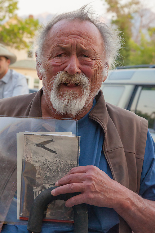 "Jim Harrison arrives at a benefit for the movie ""Winter in the Blood"". Held at the Dulcie Theater in Livingston MT, sponsored by Elk River Books, the movie is based on the novel of the same name by James Welch."