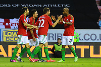 Tuesday, 7 May 2013<br /> <br /> Pictured: Swansea City Celebrate after Scoring a goal<br /> <br /> Re: Barclays Premier League Wigan Athletic v Swansea City FC  at the DW Stadium, Wigan