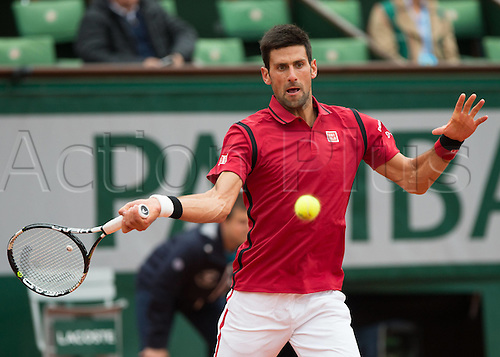 01.06.2016. Roland Garros, Paris, France, French Open tennis championships, day 11.  Novak Djokovic (SRB)  during his win against Roberto Bautista Agut of Spain