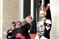 Roma,10 Giugno 2017<br /> Arcivescovo Giovanni Angelo Becciu e Pietro Parolin.<br /> Papa Francesco in visita al Quirinale