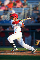Auburn Doubledays catcher Luis Vilorio (4) at bat during a game against the Williamsport Crosscutters on June 25, 2016 at Falcon Park in Auburn, New York.  Auburn defeated Williamsport 5-4.  (Mike Janes/Four Seam Images)