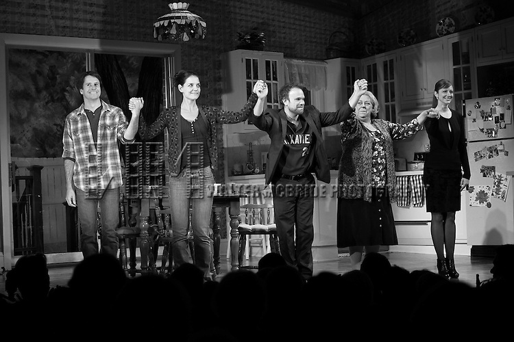 Josh Hamilton, Katie Holmes, Norbert Leo Butz, Jayne Houdyshell & Judy Greer during Broadway Opening Night Performance Curtain Call for 'Dead Accounts' at the Music Box Theatre in New York City. November 29, 2012.