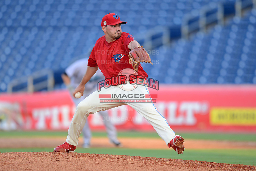 Clearwater Threshers pitcher Ryan O'Sullivan (24) during a game against the Jupiter Hammerheads July 21, 2013 at Bright House Field in Clearwater, Florida.  Jupiter defeated Clearwater 1-0.  (Mike Janes/Four Seam Images)