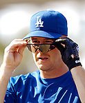 13 March 2007: Los Angeles Dodgers second baseman Jeff Kent dons his sunglasses prior to facing the Detroit Tigers in a spring training game at Holman Stadium in Vero Beach, Florida.<br /> <br /> Mandatory Photo Credit: Ed Wolfstein Photo