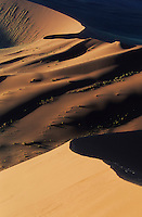 Sand dunes at last light, Sossusvlei, Namib Naukluft National Park, Namibia, Africa