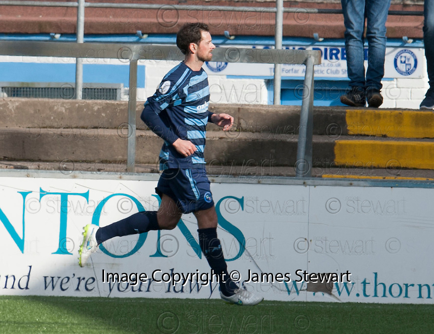 Forfar's Gavin Swankie (10) celebrates after he scores their first half goal.