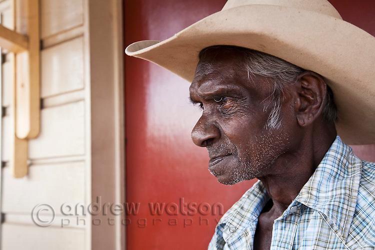 Portrait of an indigenous stockman.  Cooktown, Queensland, Australia