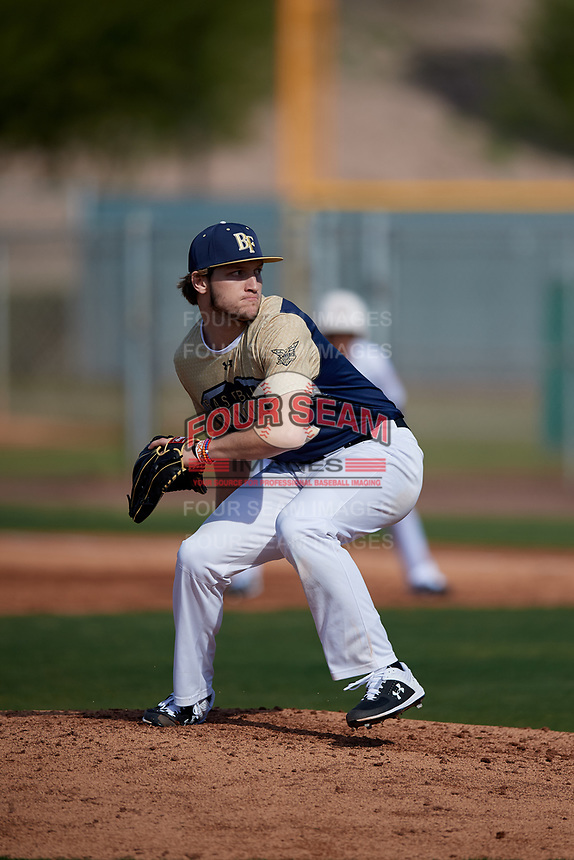 Xander Hamilton during the Under Armour All-America Pre-Season Tournament, powered by Baseball Factory, on January 19, 2019 at Sloan Park in Mesa, Arizona.  Xander Hamilton is an outfielder / right handed pitcher from Raleigh, North Carolina who attends Broughton High School and is committed to Virginia Tech.  (Mike Janes/Four Seam Images)