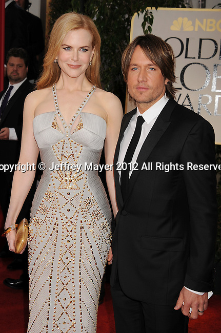 BEVERLY HILLS, CA - JANUARY 15: Nicole Kidman and Keith Urban arrive at the 69th Annual Golden Globe Awards at The Beverly Hilton hotel on January 15, 2012 in Beverly Hills, California.