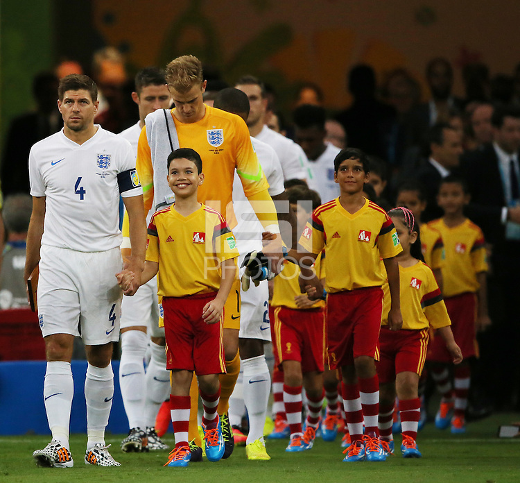 England Captain Steven Gerrard leads the team out