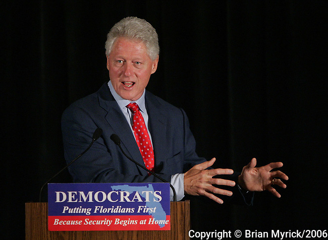 Former President Bill Clinton speaks during a reception of the Florida Democratic Party, at the Orlando Marriott Downtown, in Orlando, Fla., Monday, June 12, 2006.(AP Photo/Brian Myrick)